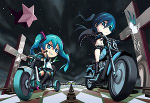 Rating: Safe Score: 100 Tags: black_rock_shooter chibi hatsune_miku kuroi_mato motorcycle twintails vocaloid User: anaraquelk2