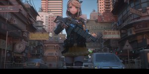 Rating: Safe Score: 52 Tags: blonde_hair building car cat_smile city colonel_sanders gloves green_eyes gun ibara_dance original short_hair skirt thighhighs translation_request watermark weapon zettai_ryouiki User: SciFi