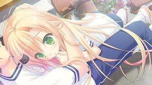 Rating: Safe Score: 118 Tags: ayasaki_nanoka blonde_hair blush chikotam game_cg green_eyes gym_uniform hare_nochi_kitto_nanohana_biyori hug loli long_hair User: Chrisiebear