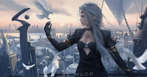 Rating: Safe Score: 83 Tags: animal bird building chain city dungeon_and_fighter gray_hair jpeg_artifacts long_hair pointed_ears scenic watermark wlop User: RyuZU