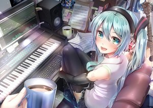 Rating: Safe Score: 42 Tags: aqua_eyes aqua_hair computer drink guitar hatsune_miku headphones imo_bouya instrument long_hair music paper piano skirt tattoo thighhighs twintails vocaloid User: RyuZU
