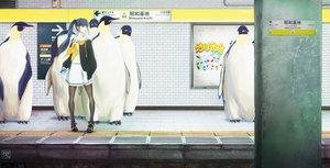 Rating: Safe Score: 52 Tags: animal bird black_hair blue_eyes long_hair original pantyhose penguin phone ponytail sakimori_uta school_uniform train watermark User: FormX