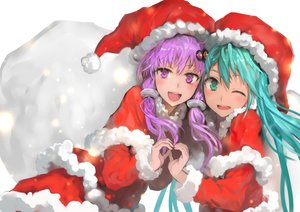 Rating: Safe Score: 61 Tags: 2girls bob_(biyonbiyon) christmas hat hatsune_miku santa_costume santa_hat vocaloid voiceroid yuzuki_yukari User: mattiasc02