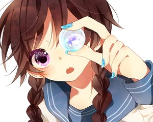 Rating: Safe Score: 101 Tags: braids brown_hair close naoton original purple_eyes User: FormX