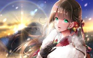 Rating: Safe Score: 52 Tags: blush brown_hair close gloves green_eyes japanese_clothes kimono long_hair midoriiro_no_shinzou original sunset User: BattlequeenYume