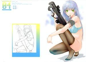 Rating: Questionable Score: 105 Tags: blue_hair bra fuyuno_haruaki green_eyes gun long_hair nopan original sketch thighhighs underwear weapon User: Wiresetc