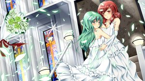 Rating: Safe Score: 25 Tags: green_eyes green_hair hakurei_reimu kochiya_sanae red_eyes red_hair touhou wedding User: HawthorneKitty