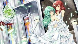 Rating: Safe Score: 30 Tags: green_eyes green_hair hakurei_reimu kochiya_sanae red_eyes red_hair shoujo_ai touhou wedding wedding_attire User: HawthorneKitty