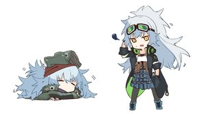 Rating: Safe Score: 23 Tags: 2girls aek-999_(girls_frontline) anthropomorphism boots chibi g11_(girls_frontline) ganesagi girls_frontline gloves goggles gray_hair hat headphones long_hair pantyhose ponytail skirt sleeping waifu2x white yellow_eyes User: otaku_emmy