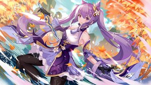 Rating: Safe Score: 57 Tags: augu_(523764197) autumn genshin_impact keqing_(genshin_impact) leaves long_hair purple_hair sword twintails water weapon User: BattlequeenYume