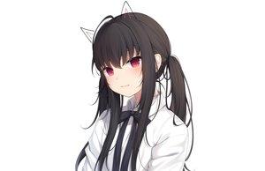 Rating: Safe Score: 74 Tags: amashiro_natsuki animal_ears black_hair bow close long_hair original red_eyes ribbons shirt twintails white User: otaku_emmy
