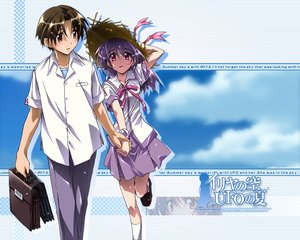 Rating: Safe Score: 5 Tags: asaba_naoyuki bow clouds hat iriya_kana iriya_no_sora_ufo_no_natsu purple_hair red_eyes school_uniform sky watermark User: Oyashiro-sama