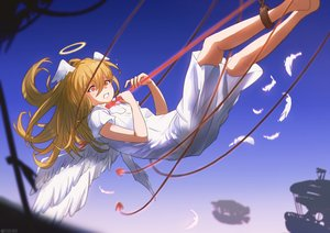 Rating: Safe Score: 20 Tags: angel barefoot blonde_hair bondage dress halo long_hair original orlijiang red_eyes watermark wings User: mattiasc02