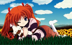 Rating: Safe Score: 31 Tags: animal blue_eyes cat grass kanon orange_hair piro sawatari_makoto twintails User: Oyashiro-sama