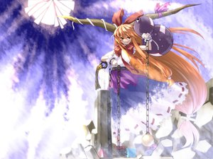 Rating: Safe Score: 41 Tags: drink horns ibuki_suika long_hair orange_hair ribbons sake skirt touhou weapon wristwear User: Tensa