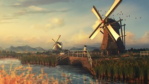 Rating: Safe Score: 129 Tags: clouds grass landscape natsu3390 original realistic scenic sky sunset water windmill User: FormX