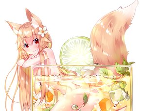 Rating: Questionable Score: 135 Tags: animal_ears ass blonde_hair blush breasts bubbles cropped drink fang food foxgirl fruit long_hair navel nude original red_eyes tail usagihime waifu2x white User: otaku_emmy