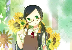 Rating: Safe Score: 41 Tags: black_hair chibiibiru glasses green_eyes jpeg_artifacts original signed twintails User: Wiresetc