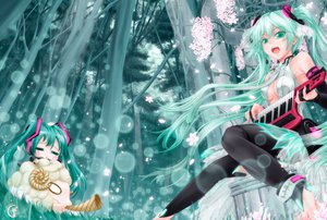 Rating: Safe Score: 125 Tags: animal aqua_eyes aqua_hair cherry_blossoms chibi hatsune_miku instrument long_hair miku_append petals tree tsukineko vocaloid User: Maboroshi