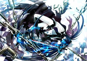Rating: Safe Score: 77 Tags: black_hair black_rock_shooter blue_eyes chain kuroi_mato long_hair sword twintails weapon User: Artwork