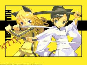 Rating: Safe Score: 27 Tags: animal_ears beatrix_kiddo catgirl jpeg_artifacts katana kill_bill kuroboshi_kouhaku o-ren_ishii sword weapon yellow User: w7382001