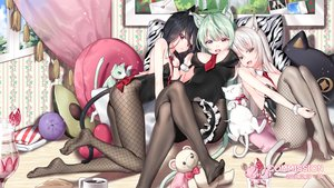 Rating: Safe Score: 111 Tags: animal animal_ears bell bicolored_eyes black_hair brown_eyes cake cat dress drink food fruit green_eyes green_hair ia_(ias1010) long_hair original pantyhose red_eyes strawberry tail teddy_bear tie watermark white_hair User: BattlequeenYume