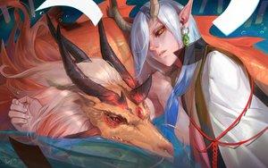 Rating: Safe Score: 30 Tags: aerysky all_male horns ichimoku_ren_(omnyouji) male onmyouji orange_eyes pointed_ears signed tears white_hair User: RyuZU