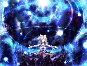 Rating: Safe Score: 112 Tags: blonde_hair blue dress gray_eyes noise-111 sword touhou toyosatomimi_no_miko weapon User: C4R10Z123GT