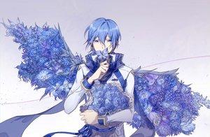 Rating: Safe Score: 21 Tags: all_male aqua_eyes aqua_hair flowers kaito male short_hair vocaloid ziling User: RyuZU