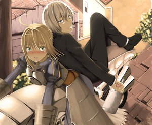 Rating: Safe Score: 57 Tags: armor blonde_hair fate/stay_night green_eyes green_hair hews saber short_hair signed tagme type-moon User: hews