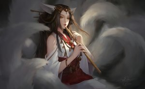 Rating: Safe Score: 66 Tags: animal_ears bell brown_hair dao_trong_le flute foxgirl instrument japanese_clothes long_hair multiple_tails necklace orange_eyes original signed tail waifu2x wristwear User: BattlequeenYume