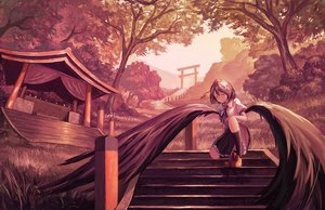 Rating: Safe Score: 22 Tags: fjsmu polychromatic shameimaru_aya shrine stairs torii touhou wings User: FormX