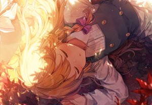 Rating: Safe Score: 53 Tags: apron autumn blonde_hair blush bow braids hat kirisame_marisa leaves long_hair shade shinoba shirt sleeping touhou witch_hat User: otaku_emmy