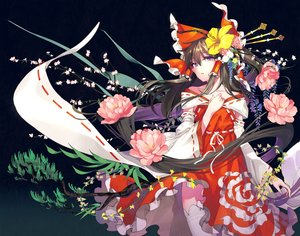 Rating: Safe Score: 53 Tags: bow brown_hair flowers hakurei_reimu headdress japanese_clothes long_hair miko purple_eyes thighhighs touhou tsurukame User: FormX