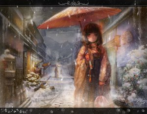 Rating: Safe Score: 168 Tags: brown_hair japanese_clothes kimono miyai_haruki original snow umbrella winter User: opai