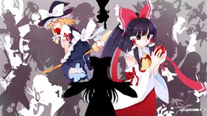 Rating: Safe Score: 16 Tags: black_hair blonde_hair hakonekohime hakurei_reimu kirisame_marisa long_hair short_hair touhou wink yellow_eyes User: korokun