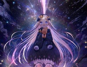 Rating: Safe Score: 67 Tags: abigail_williams_(fate/grand_order) aqua_eyes blonde_hair bloomers bow cropped dress fate/grand_order fate_(series) loli long_hair space stars teddy_bear waifu2x yano_mitsuki User: otaku_emmy