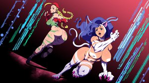 Rating: Questionable Score: 136 Tags: animal_ears blonde_hair blue_eyes blue_hair boots braids breasts cammy_white capcom catgirl darkstalkers erect_nipples felicia hat riskygraphics scar street_fighter tail User: SonicBlue