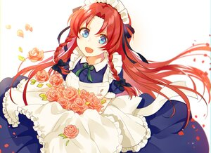 Rating: Safe Score: 32 Tags: apron aqua_eyes blush bow braids cropped flowers headdress hong_meiling kanta_(pixiv9296614) long_hair maid petals red_eyes ribbons rose touhou white User: otaku_emmy