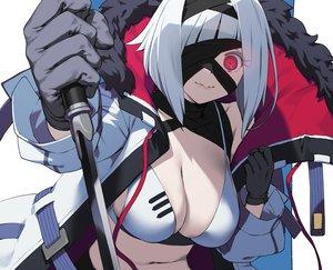 Rating: Safe Score: 42 Tags: bikini breasts cleavage close cozy cropped eyepatch gloves headband hoodie navel original red_eyes short_hair swimsuit sword weapon white_hair User: otaku_emmy