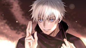 Rating: Safe Score: 21 Tags: all_male blue_eyes close foo_midori gojou_satoru hoodie jujutsu_kaisen male short_hair signed white_hair User: otaku_emmy