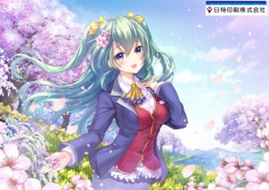 Rating: Safe Score: 54 Tags: blush breasts cherry_blossoms clouds flowers green_hair long_hair moyon petals sky tree water User: RyuZU