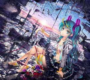 Rating: Safe Score: 140 Tags: aqua_eyes aqua_hair barefoot breasts cleavage clouds flowers glycyrrhizae hatsune_miku landscape long_hair navel necklace open_shirt petals ribbons scenic skirt sky twintails vocaloid wristwear User: HawthorneKitty