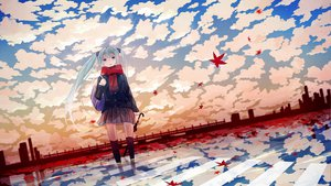 Rating: Safe Score: 88 Tags: clouds hatsune_miku scarf tagme_(artist) twintails umbrella vocaloid User: HawthorneKitty