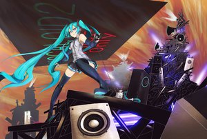 Rating: Safe Score: 137 Tags: fu-ta hatsune_miku skirt thighhighs tie twintails vocaloid User: FormX