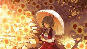 Rating: Safe Score: 27 Tags: bellabow flowers green_eyes green_hair kazami_yuuka shade short_hair skirt sunflower touhou umbrella User: RyuZU