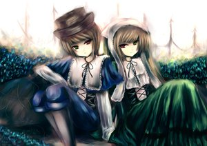 Rating: Safe Score: 22 Tags: bicolored_eyes brown_hair hat rozen_maiden souseiseki suiseiseki twins User: HawthorneKitty
