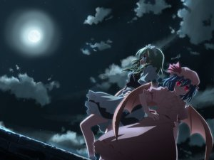 Rating: Safe Score: 87 Tags: dress hat izayoi_sakuya maid moon night red_eyes remilia_scarlet touhou vampire wings yuuki_tatsuya User: Oyashiro-sama