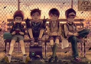 Rating: Safe Score: 68 Tags: all_male brown_eyes brown_hair elbow_gloves game_console glasses gloves group hat kneehighs male noeyebrow_(mauve) original seifuku short_hair watermark User: BattlequeenYume