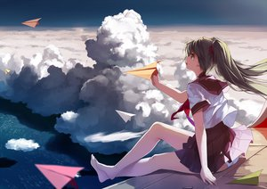 Rating: Safe Score: 196 Tags: barefoot caidychen clouds hatsune_miku school_uniform skirt sky twintails vocaloid User: Wiresetc